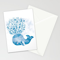 Cute Watercolor Whale Stationery Cards by noondaydesign