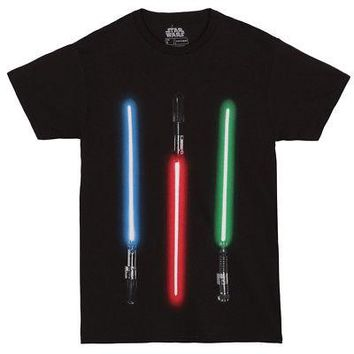 Star Wars Lights Up Color Lightsabers Licensed Adult Unisex T-Shirt - Blk - XL