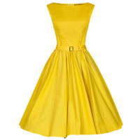 Woman Vintage Solid Color Big Peplum Boat Neck Dress   yellow   S