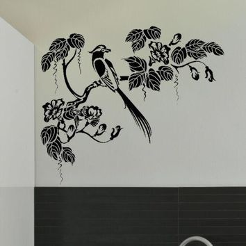 G238  Oriental Style Tree & Bird Wall Sticker Decal Art Transfer Graphic Stencil Children room animal wall stickers decorative
