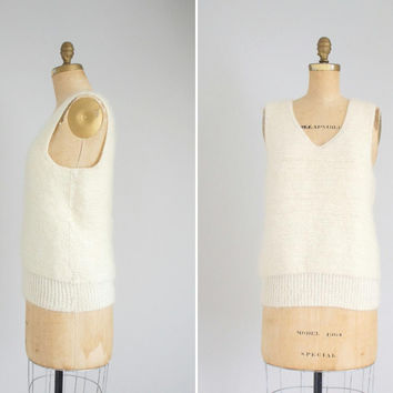 60s natural wool hand knit vest