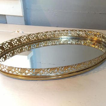 Vintage, Mirror, Mirrored Tray, Vanity Mirror, Vanity Tray, Gold, Oval, Filigree, Mid Century Modern, Bathroom, Bedroom, RhymeswithDaughter