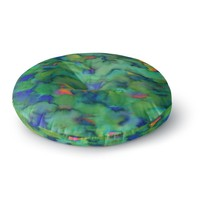 "Miranda Mol ""Dreamy Clouds"" Green Teal Abstract Fantasy Watercolor Painting Round Floor Pillow"