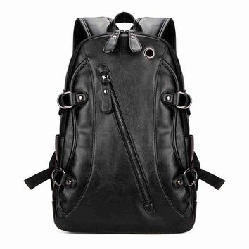 Cool Backpack school VICUNA POLO Famous Brand Men Laptop Backpack With Earphone Hole Casual Cool Men's PU Leather Rucksack Fashion mochila masculina AT_52_3