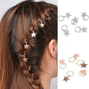 Fashion 1set Kids Girls  Silver/Golden Hairpin Compiled Hair Accessories Circle Hoop Jewelry Gift