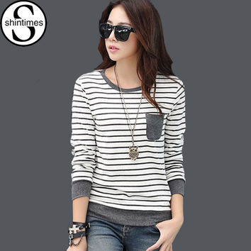 Vetement Femme Winter Long Sleeve Tshirt Women T Shirt Womens Tops Camisas Femininas 2016 Poleras De Mujer Stripe T-shirt Blusas