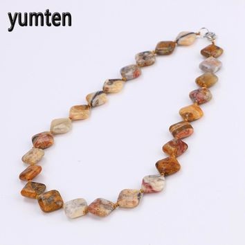 Yumten Colorful Jade Power Necklace Natural Stone Square Crystal Men Jewelry Colar Masculino Bohemian Chakra 5 PCS