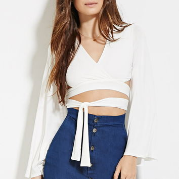Self-Tie Surplice Crop Top
