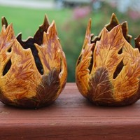 "Set of 2 ""Autumn Leaves"" Ceramic Votive Candle Holders"