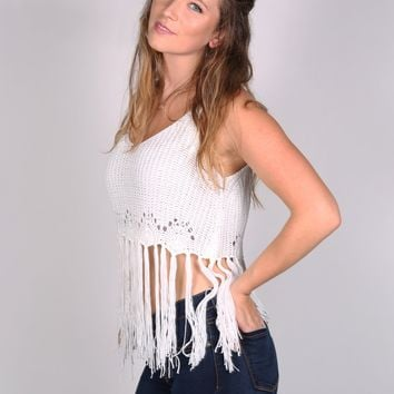 Crochet Fringe Knit Top
