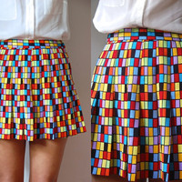 Vtg High Waist Pleated Rectangles Mod Print Mini Skirt