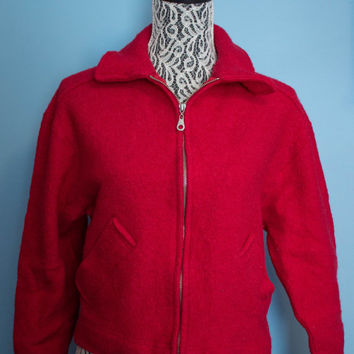 90's Express Tricot Red Wool Cropped Jacket