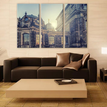 Classic Old Iconic Domes LARGE Canvas 3 Panels Print City Art Wall Deco Fine Art Photography Repro Print for Home and Office Wall Decoration