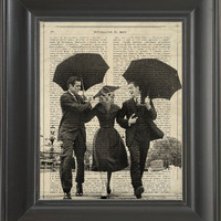 Two mans escorting cat under umbrellas   - Printed on Definitions of love page  -  250Gram paper.
