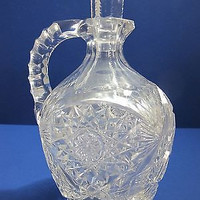 Signed Libbey Hand Cut glass handled decanter , hobstar ANTIQUE ABP
