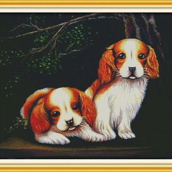 Two Dogs Cotton Animal cross stitch kits Sets  DMC 14ct white 11ct printed embroidery DIY handmade needle work wall home decor