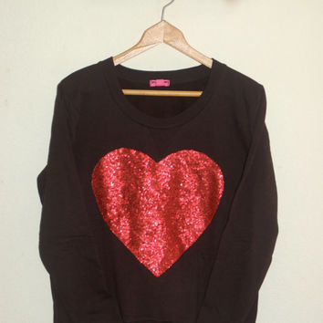 "The ""Dazzle My Love"" Sweatshirt - Sequin Heart Sweatshirt"