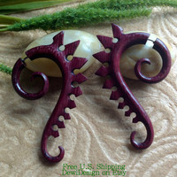 Faux Gauges - Spiked-Back Spirals - Exotic Purpleheart - Naturally Organic - Hand Carved -Tribal