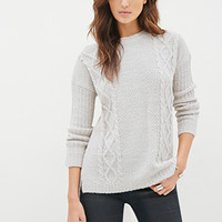 LOVE 21 Boxy Cable Knit Sweater Ivory/Grey