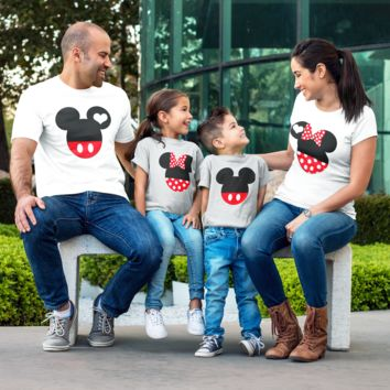 Family Matching Mickey Minnie Kids Love Set Men Women Kids Onesuit T-shirt