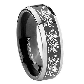 8MM Glossy Black Multiple Dragon Bevel Edges 2 Tone Tungsten Laser Engraved Ring
