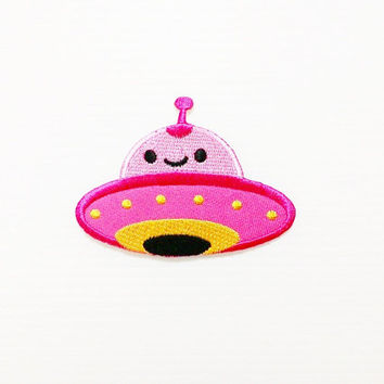Pink UFO Cute Cartoon New Iron On Patch Embroidered Applique Size 8cm.x5.8cm.