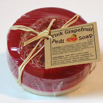 Pedicure Glycerin Soap, Pink Grapefruit Scented, Handmade- 5 oz