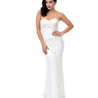 1930s Style White & Pale Silver Beaded Lace Strapless Gown