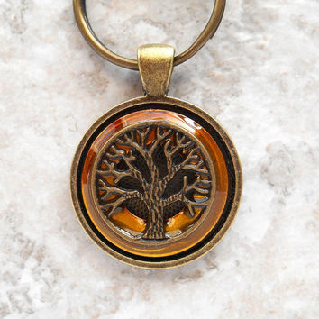 tree of life keychain: yellow - mens keychain - celtic keychain - tree keychain - unique gift - spiritual keychain - boyfriend gift