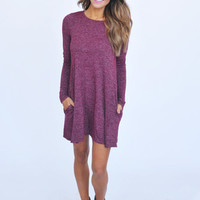 Maroon Knit Long Sleeve Dress