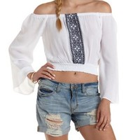 White Embroidered Off-the-Shoulder Top by Charlotte Russe