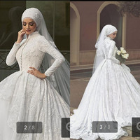 long sleeve muslim wedding dress New Arrival Train Arab Dress Plus Size High Quality vintage Wedding Dresses Custom Bridal Gown