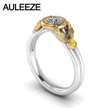 Wings 10K Two-tone Solid Gold Engagement Wedding Ring Moissanites Lab Grown Diamond Ring Yellow White Gold Yellow Sapphire Ring