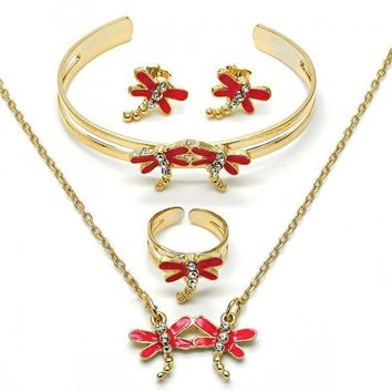 Gold Layered Earring and Pendant Children Set, Dragon-Fly and Rolo Design, with Crystal, Gold Tone