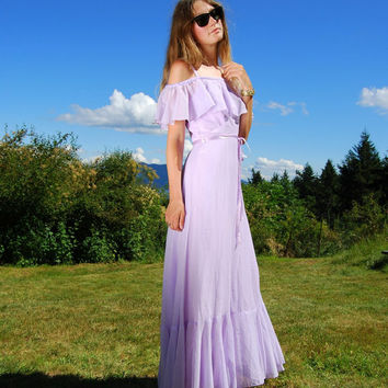 70's Lavender Maxi Dress Tall - Boho Cotton Summer Dress - Off The Shoulder Lilac Dress - Pastel Purple Prom Dress - Vintage JC Penny Dress