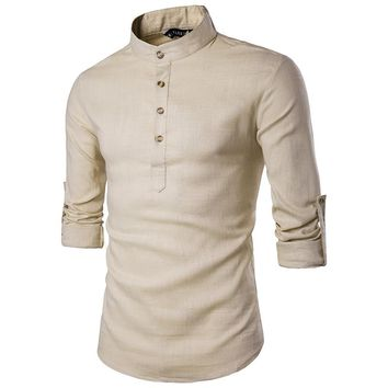 Men's Shirts spring summer Men`s Linen Cotton Blended Shirt Mandarin Collar Breathable Comfy Traditional Chinese Style Popover Henley