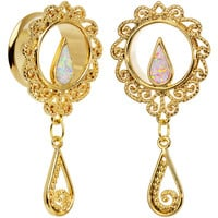 "3/4"" White Faux Opal Gold Anodized Ornate Dangle Tunnel Plug Set"