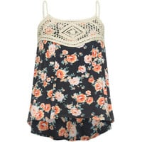 Full Tilt Crochet Bodice Girls Tank Navy Combo  In Sizes