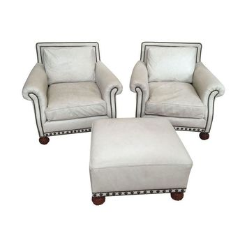 Pre-owned Ralph Lauren Distressed Leather Chairs & Ottoman