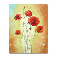 Red Poppy Flower Painting - Original Acrylic Art on Canvas - Mother's Day Wall Art 14x18