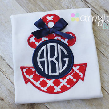 July 4th - Red and Navy Blue Anchor Monogram Toddler Shirt - Girl - Child - Personalized - July Fourth - Nautical - Summer Vacation Tee