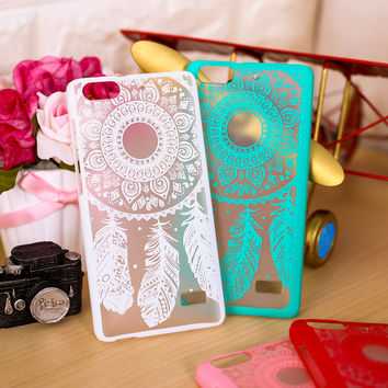 "Luxury Flower Hard Plastic Phone Cases For Huawei G Play Mini Honor 4C 5"" Covers Dream Catcher Clear Retro Shell Freeshipping"