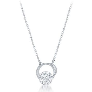 Floating CZ Necklace, Silver