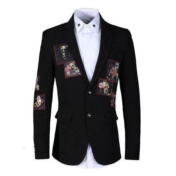 ICIKON3 rose skull print velvet blazer suit men blazer masculinoluxury brand wedding party single breasted blazersMens stage wear