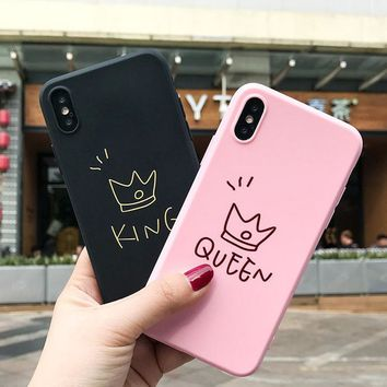 Trendy JAMULAR King Queen Crown Lovely Case For iPhone 7 8 Plus Matte Soft TPU Cases Back Cover For iPhone 6 6s Plus X XS MAX XR Coque AT_94_13