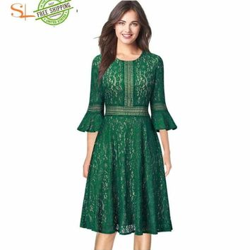 Vintage Retro Full Floral Lace 3/4 Flare Bell Sleeve dress