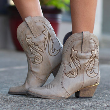 Very Volatile: Markie Western Cowgirl Bootie {Stone}
