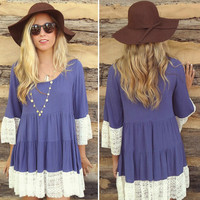 Flounced Sleeves Tiered Lace Trimmed  Dress