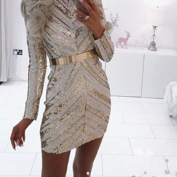 New Golden Geometric Sequin Glitter Band Collar Sparkly Bodycon Banquet Birthday Party Mini Dress