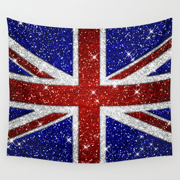 Glitters Shiny Sparkle Union Jack Flag Wall Tapestry by Tees2go